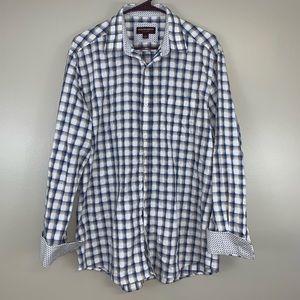 Johnston & Murphy Check Button Up Dress Shirt